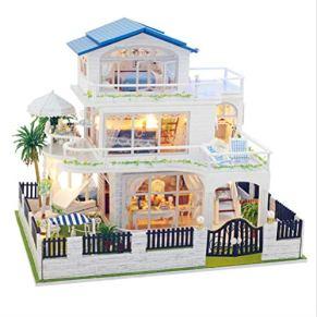 Montar La Casa De Muñecas Diy, Casas De Muñecas En Miniatura De Madera De Juguete, Juguete Pequeño De Casa De Muñecas, Con Luces Led Para Muebles, Regalos De Cumpleaños Para Niños, (25 * 34 * 31 Cm)