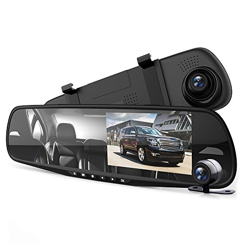 Pyle Hd 1080P Dvr Rearview Mirror Dash Cam Kit - Dual Camera Vehicle Video Recording System with Waterproof Backup Cam, 4.3 -Inch Display
