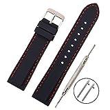 Vinband Cinturino in silicone cinturino caucciù multicolore impermeabile argento fibbia 18, 20, 22, 24 mm   cinturini orologi orologio cinturino (20mm, nero rosso)
