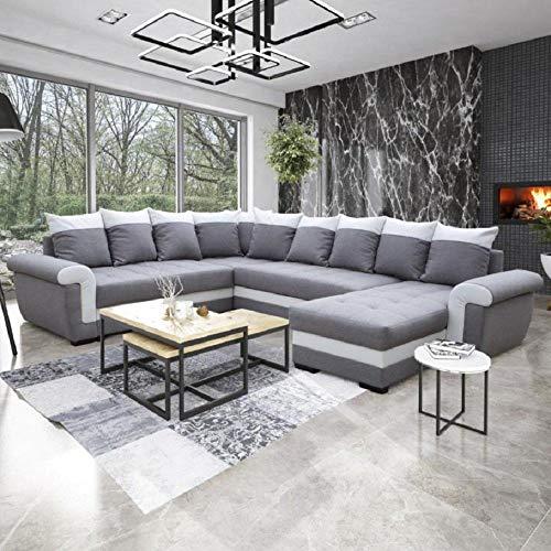 Divano convertibile Londonderry, ad angolo panoramico, colori: grigio e bianco