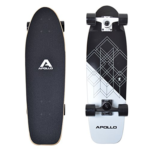 Apollo Mini-Longboard, Toller Midi Cruiser als Komplett-Board, 70cm (30x8), wendiges Kick Tail Mini Longboard aus Holz im Vintage Skateboard-Style mit High Speed ABEC 9 Kugellagern