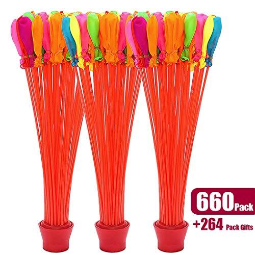 660 Pack Schnell Wasserballons füllen Selbstsiegelnde Wasserbombe Sommer Splash Fun Wasserkampf Spiel für Kinder & Erwachsene (5 Beutel 660)
