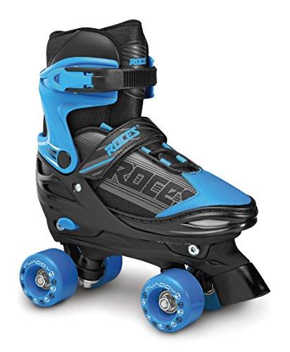 Roces Quaddy. Boy Rollschuhe Kinder Größenverstellbar, Schwarz-Blau, 30-33
