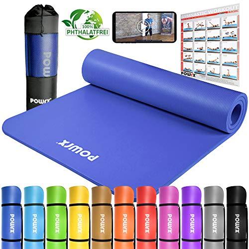 POWRX Tappetino Fitness Antiscivolo 190 x 100 x 1,5 cm - Ideale per Yoga, Pilates e Ginnastica -...