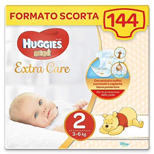 Huggies Pannolini Bebè Extra Care, Taglia 2 (3-6 kg), Confezione da 144 Pezzi