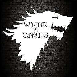 JDM–Vinilo adhesivo para coche con texto «Winter Is Coming» de la Casa de Stark de Juego de Tronos, para parachoques