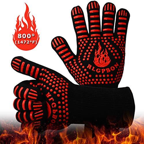 RLGPBON Guanti da Barbecue, Guanti da Forno BBQ Cucina con Resistenza al Calore Fino a 800 °C...