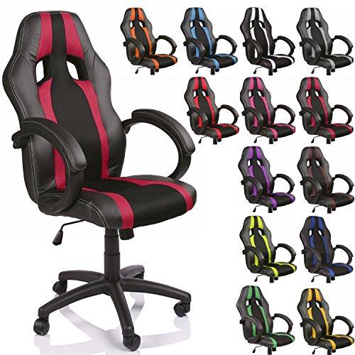 TRESKO Poltrona Sedia direzionale da ufficio Racer classe di lusso - disponibile in diversi colori (nero/bordeaux)
