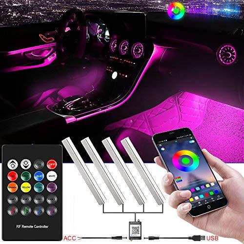 RGB Luci LED Auto Interno Alimentato da USB o ACC con Telecomando e Bluetooth App Controllo, Interni...