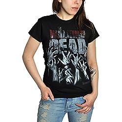 Walking Dead - Camiseta de Hands Blood con motivo de la serie horror TV - Estampado frontal grande - Negro - S