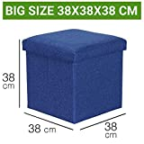 Sterling Foldable Ottoman Storage Box Cum Stool - Linen Fabric Foldable Basket Cubes Organizer Boxes Containers Drawers with Lid (Multi-Color 38 X 38 X 38 cm)