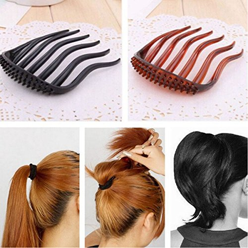 Jeval Volume Inserts hair clip for ponytail bouffant styles hair comb Clip BumpitS / BLACK Inserts Hair Clip Bumpits Bouffant Ponytail Hair Bun Maker DIY Comb Hair (1 pcs)