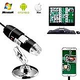 Jiusion 40 - 1000x Vergrößerung Endoskop, 8 LED USB 2.0 Digital Mikroskop, Mini Kamera mit OTG Adapter und Metall Standfunktion, kompatibel mit Mac Windows 7 8 10 Android Linux