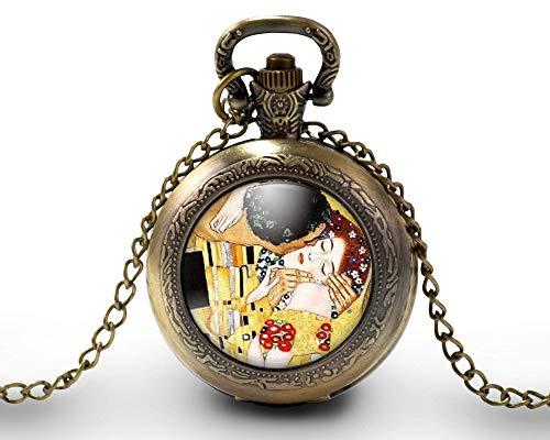 Collana orologio da taschino - orologio da tasca, cabochon Klimt'il bacio' - Regalo di Natale per...