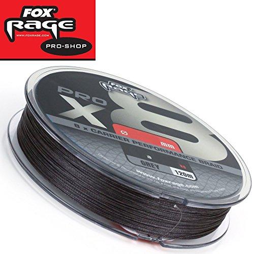 Fox Rage Pro x8 120m grau - geflochtene Angelschnur zum Spinnangeln auf Hechte, Zander & Barsche, Schnur zum Spinnfischen, Durchmesser/Tragkraft:0.25mm / 55lbs / 25kg Tragkraft