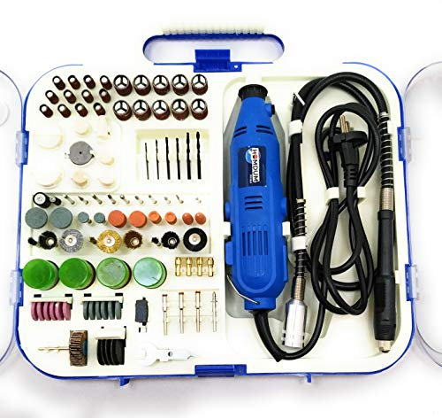 Homdum® Multifunctional Mini Rotary Die Grinder Kit with Flexible Shaft and 163 Pieces of accessories.
