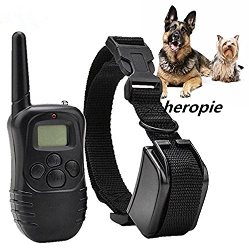 Pinkdose® Pinkdose 1V1 for One Dog, UK: Heropie 300M Rechargeable Waterproof Remote Dog Training Collar Vibration Shock Electronic Electric 100Level Anti Bark