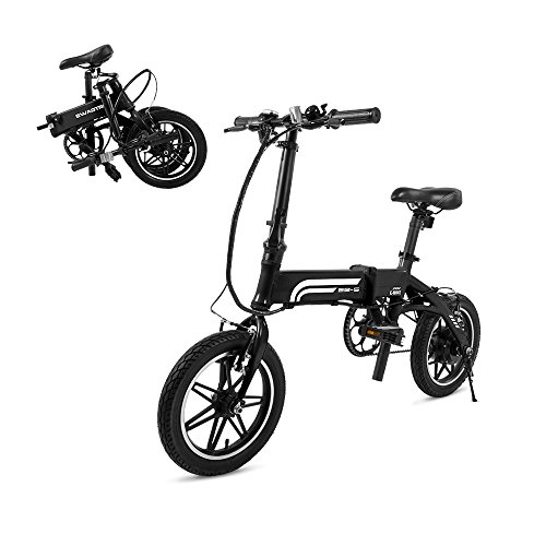 """Swagtron EB5 14T SwagCycle EB-5 Lightweight Aluminum Folding Electric Bike with Pedals 14"""" Frame (Black)"""