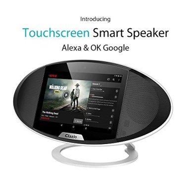 Clazio-Wireless-Touchscreen-Smart-Bluetooth-Lautsprecher-WiFi-Android-OS-7-Portable-Speaker-mit-Voice-Control-fr-Alexa-oder-OK-Google-zu-perfekten-Lautsprecher-fr-Golf-Strand-Dusche-Home