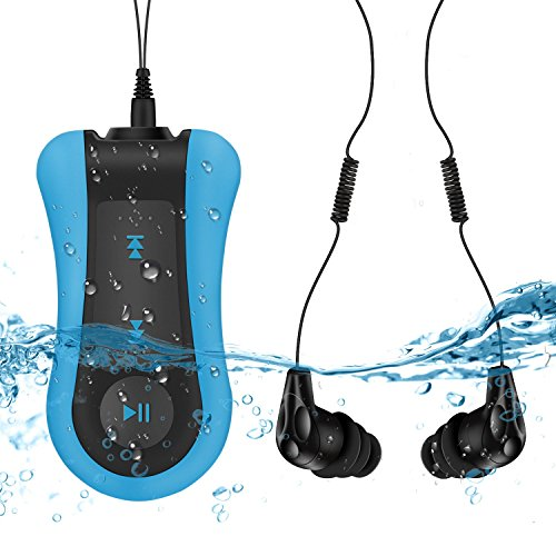 AGPTEK Reproductor MP3 Acuatico 8GB, MP3 Waterproof IPx8 con Auriculares Impermeable para Nadar, Correr, Azul