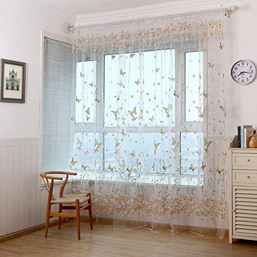 AIHOMETM Cortina vertical. Impresión de mariposa. Estilo Chic para sala de Tul de Gasa floral. Cortina para decoración de ventana, puerta, ventanal. 1 m x 2 m.