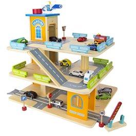 Leomark Garage in legno, parcheggio a 3 livelli con ascensore e auto + 9 Metallo Super Cars Macchine