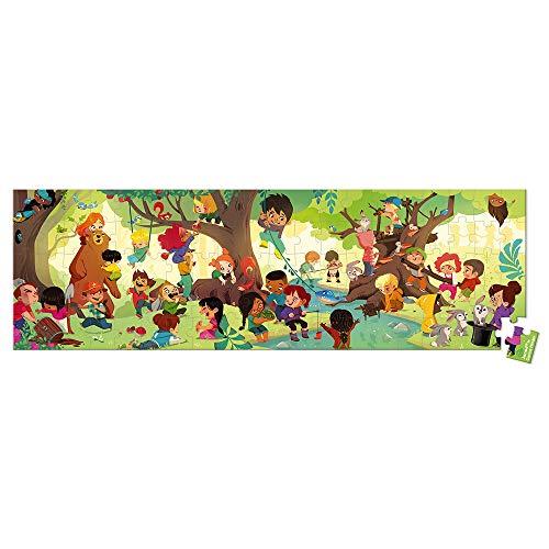 Janod Valigetta Rotonda-Puzzle Panoramico Viaggio nella Foresta, Multicolore, J02730