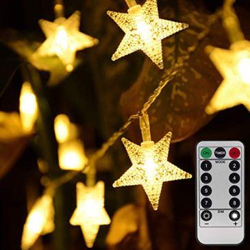 Guirlande lumineuse étoile de Noël à piles 50 LED 4,3 m Guirlande lumineuse 8 modes pour extérieur, intérieur, chambre, jardin, fête, anniversaire, mariage (télécommande incluse)