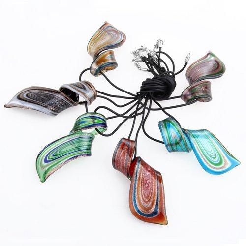 Ecloud Shop® 6PCS mezcló el Collar Pendiente cristalino de la torcedura del Claro de Las Raya