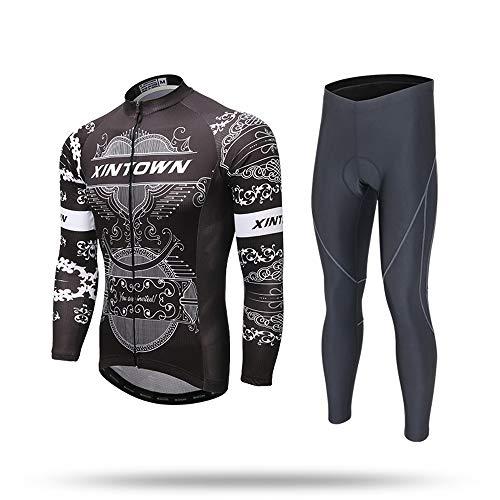 Pinjeer 3D impresión Transpirable de los Hombres de Ciclismo Jersey Ropa de Primavera y otoño Ropa Deportiva al Aire Libre Equipo de montaña Bicicleta Jersey de Manga Larga Ciclismo Jersey Pantalones