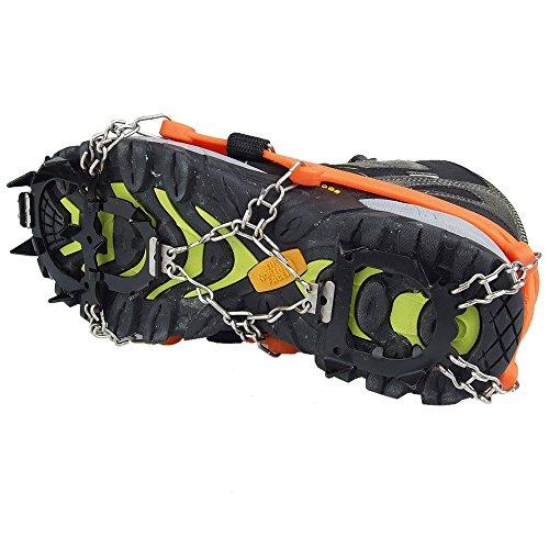 Crampones - SODIAL(R) 2 x zapatos de crampones de 12 dientes de garras antideslizantes cadena de cubierta de acero inoxidable al aire libre de esqui de senderismo en tipos variedad de terreno,naranja 3