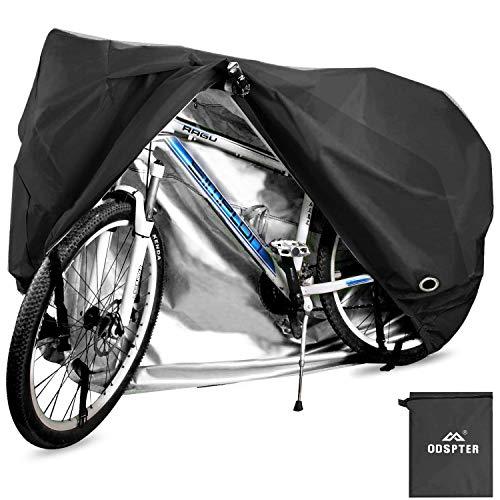 ODSPTER Fahrradabdeckung für 2 Fahrräder, wasserdichte 210D Oxford-Gewebe Atmungsaktives Draussen Fahrrad Schutzhülle mit Schlossösen Schutz, für Mountainbike und Rennrad 29 Zoll (Schwarz)