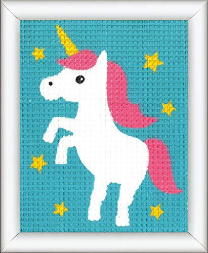 Vervaco-Kit de Punto de Cruz Unicornio, Stick de vorgezeichnet stickbildp ackung, vorbeze Cumple, algodón, Multicolor, 12.5x 16x 0,3cm