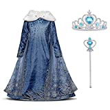 URAQT Snow Queen Elsa Frozen Vestito Set, Winter Party Princess Dress Costume con Colletto in Peluche per 5-6 Anni