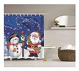 Amody 3D Duschvorhang Weihnachtsmann mit Schneemann Duschvorhang Anti Schimmel Lustig 180x200CM Duschvorhang für Badewanne