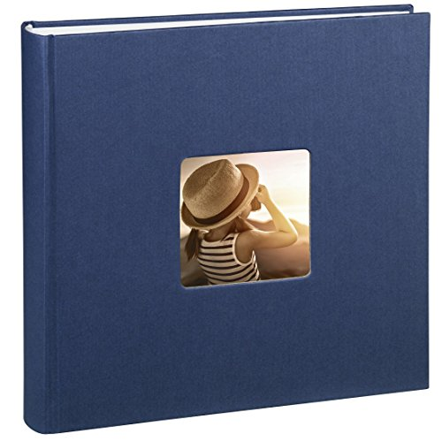 Hama Jumbo Fotoalbum Fine Art (30 x 30 cm, 100 Seiten, 50 Blatt, Mit Ausschnitt für Bildeinschub) blau