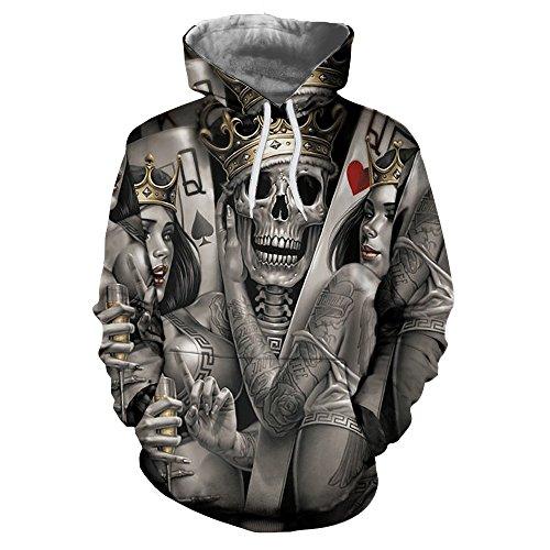 Human Skeleton Poker Digital Printing Men's Hooded Sweater Volume Casual Poker King Loose Type