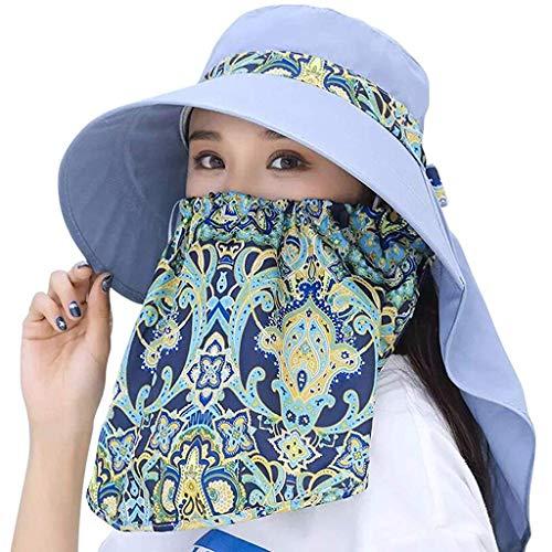 PALAY Women Lady Wide Brim Cap Visor Hats UV Protection Summer Sun Hats (Grey)