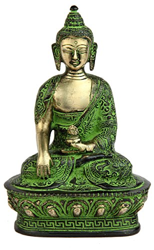 "StatueStudio latón Estatua de Buda con Cuenco Sentado Bronce Budista Sakyamuni 7"" 3"