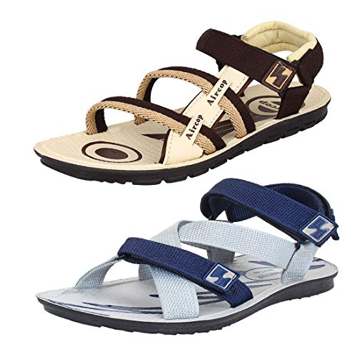 Bersache Men's Casual Combo Pack of 2 Canvas Multi-Color Sandal & Floater (Size : 10)