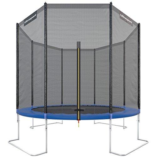 Ultrasport Outdoor Gartentrampolin Jumper, Trampolin Komplettset inklusive Sprungmatte, Sicherheitsnetz, gepolsterten Netzpfosten und Randabdeckung, bis zu 160 kg, blau, Ø 305 cm