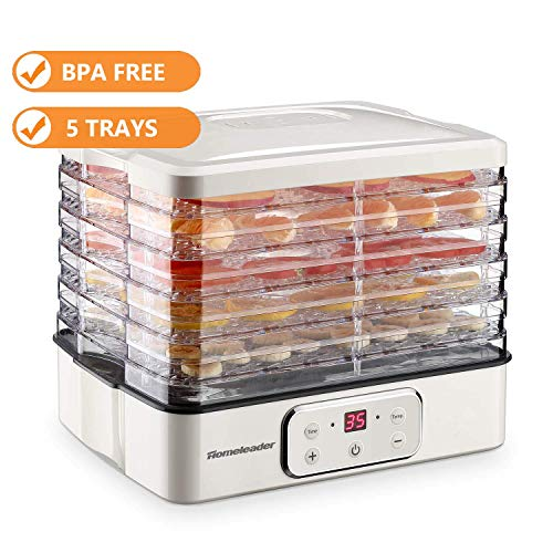 Food Dehydrator, Electric Digital Food Dehydrator Machine for Jerky, Fruit, Vegetables & Nuts, Vegetable Dryer with Timer and Temperature Control, Homeleader Food Dehydrator with Five Trays, LCD Displ