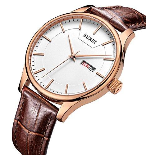 BUREI Mens Precise Quartz Armbanduhren mit Tag und Datum Kalender Rose Gold Hände weiches braunes Lederband