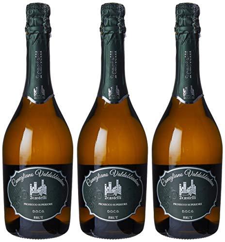 Tenuta 2castelli Prosecco Superiore Docg Conegliano - Valdobbiadene Spumante Millesimato Dry - 3 bottiglie da 75 ml