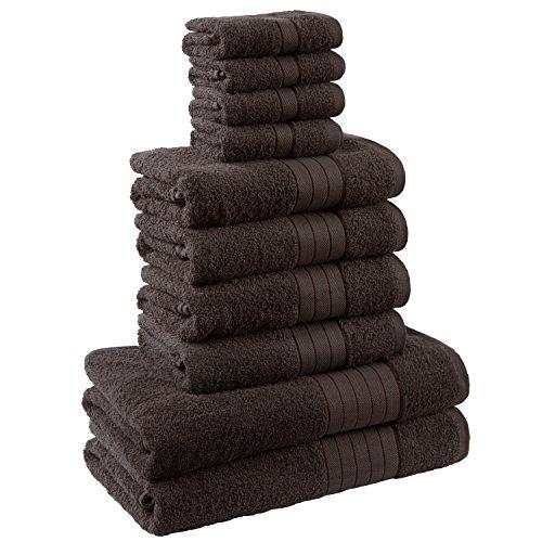 Dreamscene-Juego de toalla de lujo, 100% algodón egipcio, Chocolate, 10unidades)