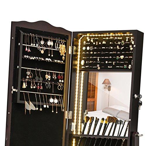 SONGMICS Schmuckschrank mit LED Beleuchtung, abschließbarer Spiegelschrank, mit Innenspiegel und klappbarer Innenablage für Make-up, braun JBC87BR - 4