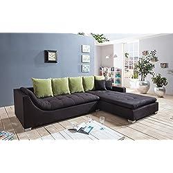 SAM® Ecksofa Villa in schwarz mit Ottomane rechts, Rückenkissen inklusive, silber/grau Kunststofffüße