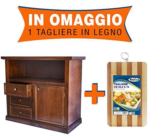 Maury's Arte Povera Mobile Porta TV in Legno Massello Noce 1 Anta 3 Cassetti 84x40x80cm