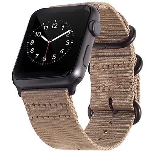 BarRan Cinturino pour Apple Watch Sport Cinturino 42mm 44mm, Nylon Adaptateurs Quick Release Watch Cinturino pour Apple Watch Sport,Series 5, Series 4, Series 3, Series 2, Series 1