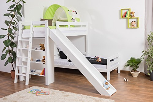 Kinderbett Etagenbett Pauli Buche Vollholz massiv weiß lackiert mit Regal und Rutsche inkl. Rollrost - 90 x 200 cm, teilbar
